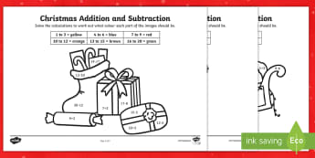 Christmas Addition and Subtraction to 20 Colour by Number  - Christmas, Nativity, Jesus, xmas, Xmas, Father Christmas, Santa, calculation, colouring, 0 to 20
