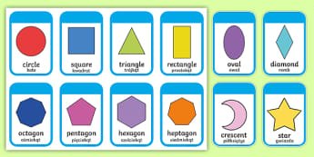 2D Shape Cards Polish Translation - English/Polish - A set of 2D shape flashcards. Features both the shapes on their own and the shape including the name
