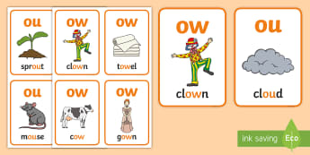My ow Sound Family Flashcards - My ow Sound Family Flashcards,Sound family, ow,ou, alternate spellings, alternate spellings for phon