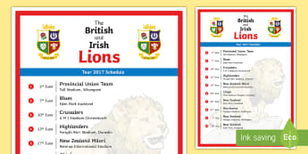 The Lion's Tour 2017 Schedule A4 Display Poster - NI - The Lion\'s Tour, British Irish rugby, New Zealand ,match, tour, test ,game, stadium, rugby u