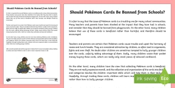 Should Pokemon Cards Be Banned from Schools? Discussion Writing Sample - Literacy, Should Pokémon Cards Be Banned From Schools? Discussion  Writing Sample, writing sample,y