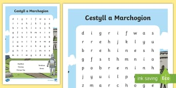 Chwilair Gwahaniaethol Cestyll a Marchogion - castell, cestyll, marchog, marchogion, hanes, chwilair, darllen,Welsh