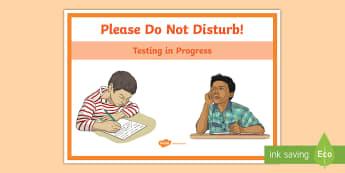 Testing in Progress Door Display Sign - standardised test, door sign, testing in progress, do not disturb, end of year assessment,Irish