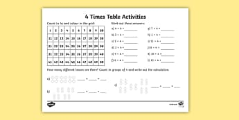 4 Times Tables Ks2 Maths Primary Resources