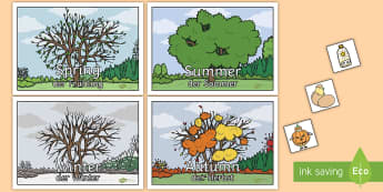 Seasons Sorting Activity English/German - EAL, German, Seasons Sorting Activity - seasons, sorting, activity, game, Summer, Autumn, Winter, Sp
