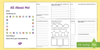UKS2 All About Me Transition Booklet - New Class Transition Activities