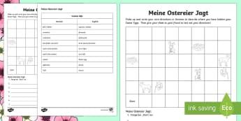 Easter Egg Hunt: Write Your Own Directions Activity Sheet German - Easter, German, Directions in German, worksheet, egg, hunt,