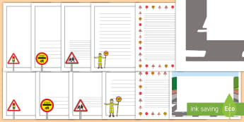 UK Road Safety Page Border Pack -  page, borders, landscape, portrait, safety, road, week, cars, traffic signs, display, formal,