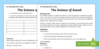 The Science of Sound Activity Sheets - sound, science, hearing, experiment, investigation, record, results, conclusion, hypothesis, hearing