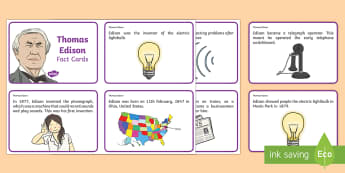 Thomas Edison Fact Cards - Light, dark, sources, science, ks1, year 1, year 2, lights, shadows, Thomas Edison, information card