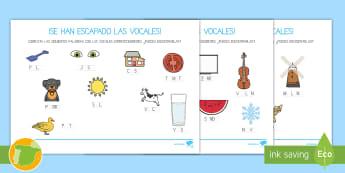 Ficha de actividad: ¡Se han escapado las vocales! - Vocales, Letras, Sonidos, Lectoescritura, Pre-Escritura, Lectura, Pre-Lectura