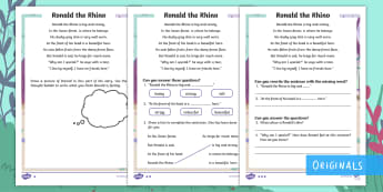Ronald the Rhino Differentiated Activity Sheets - Children's Books, Ronald the Rhino, children's book, rhyme, story, text, rhyming couplets, syllabl