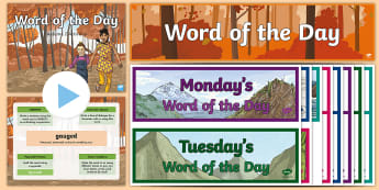Year 6 Autumn 2 Word of the Day Display Pack - vocabulary, spelling, writing, ambitious, challenging, language, creative, improve