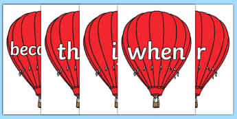 Conjunctions on Air Balloons - connectives, air balloons, display