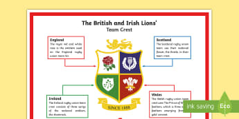 The British and Irish Lions Team Crest A4 Display Poster - NI - The Lion\'s Tour rugby British Irish New Zealand team squad