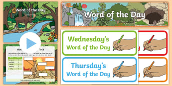 Year 1 Autumn 2 Word of the Day Display Pack - vocabulary, nouns, adjectives, compound words, multisyllabic words, suffixes.