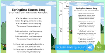 Springtime Season Song - EYFS, Early Years, Key Stage 1, KS1, spring, plants and growth, flowers, seasons, weather, rainbow,