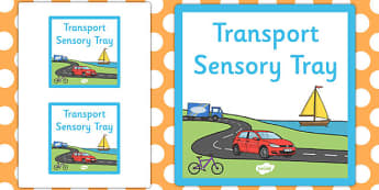 Transport Themed Sensory Deep Tray Label - tray label, transport