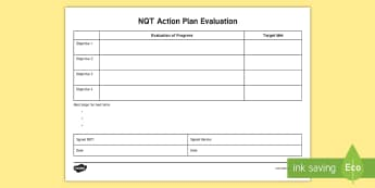 NQT Action Plan Evaluation Editable Proforma - newly qualified teacher, ongoing assessment, mentor meetings, self-evaluation, teacher organisation