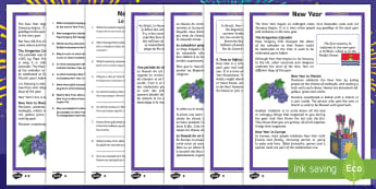 New Year Differentiated Reading Comprehension Activity English/French - KS2 reading comprehension, new year, New Year celebrations, new year resolutions, new year celebrati