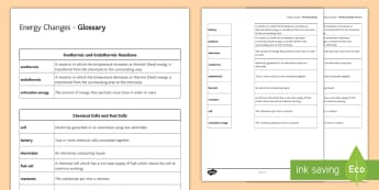 Energy Changes Glossary Activity - KS4 Glossary, Energy, Energy Changes, Endothermic, Exothermic, Reactions, Chemical Cells, Fuels Cell
