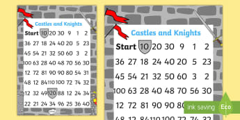 Castles and Knights Counting in 10s Maze Worksheet / Activity Sheet - count, maze, worksheet
