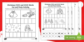 Christmas CVCC and CCVC Words Cut and Paste Activity - Christmas CCVC, Christmas CVCC, Christmas CVC, Xmas CVCC, Xmas CCVC, phonics, christmas phonics, pha