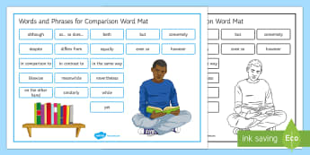 Writing Comparisons Word Mat - Comparison, Comparing, Unseen Poetry, Writing resources, Connectives, Conjunctions, Discourse Marker
