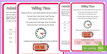Elapsed Time Display Poster - telling time, elapsed time, telling the time poster, time difference, difference in time,