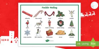 Christmas Words Word Mat Gaeilge - Christmas, Gaeilge, Nollag, Foclóir, focal, Mat, Irish
