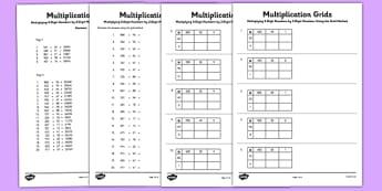 Multiplying 3 Digit Numbers by 2 Digit Numbers Using Grid Method Activity Sheet Pack - Multiplication, grid method, worksheet