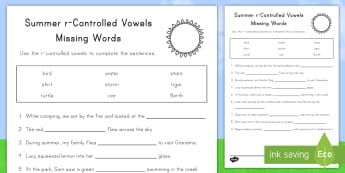 Summer r-Controlled Vowels Worksheet / Activity Sheet - summer, summer season, first day of summer, summertime, worksheet, r-controlled vowel, summer words,