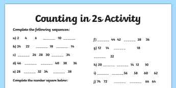 Counting in 2s Worksheets and Counting in 2s Games KS1