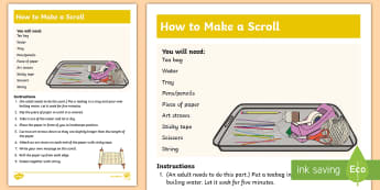 KS1 Make Your Own Scroll Craft Instructions - Holy, Jewish, Judaism, God, Synagogue,