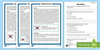 KS2 South Korea Differentiated Reading Comprehension Activity - Y3, Y4, Y5, Y6, Seoul, Olympics, Pyeongchang, 2018