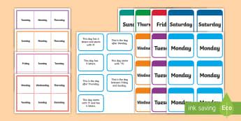 Days of the Week Bingo Game-Irish - Days, Week, Time, Maths, Measure.,Irish