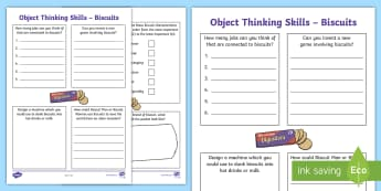 Object Thinking Skills: Biscuits Activity Sheet - creative thinking, Critical thinking, imagination, outside the box, lateral thinking, worksheet
