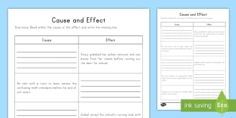 Cause and Effect Writing Activity Sheet - Cause and Effect, Cause, Effect, Writing, Reading, Reading Skills