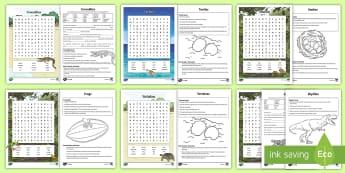 Australian Reptiles and Amphibians Activity Pack - Australian Animals,Australia, information on animals, crocodiles, frogs, reptiles, snakes, tortoises