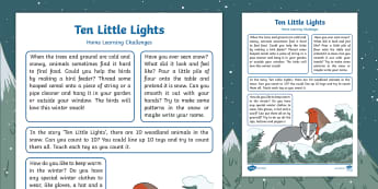 EYFS Ten Little Lights Home Learning Challenges Nursery FS1 - Early Years, Foundation, Twinkl Original, story books, fiction, winter, snow, woodland, Early Years,