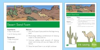 Desert Sand Foam Recipe - desert, desert habitat, desert animals, habitats, sand foam recipe, recipe, desert sand recipe