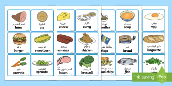 Food Word and Picture Cards Arabic/English - Food Word and Picture Cards - food, cards, cards showing food, different foods, names of food, food