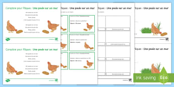 A Hen on a Wall Easter Rhyme Activity Pack French - KS3, French, Easter, comptine, nursery rhyme, Pâques , pack, gap fill, card game, cartoon, poule, m
