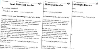 Toms Midnight Garden Summarising Practice Worksheets - summarise