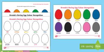 Egg Colour Recognition Worksheet / Activity Sheets - eggs, twinkl originals, fiction, duck, ducks, duckling, ducklings, worksheets, hatching, colours, co