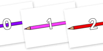 Numbers 0-100 on Pencil Crayon - 0-100, foundation stage numeracy, Number recognition, Number flashcards, counting, number frieze, Display numbers, number posters