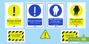 Spaceship Role Play Warning Posters English/Spanish - ace Ship Role Play Pack, space, rocket, warning, poster, space ship, alien, moon, astronaut, space l