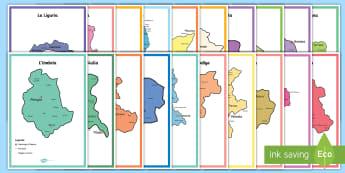 Scuola Primaria: Raccolta di cartine politiche delle regioni italiane - italia, regioni, regionale, geografia, mappa, italiano, italian, materiale, scolastico
