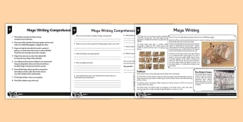 Maya Writing Differentiated Reading Comprehension Activity - reading, questions, historical, enquiry, hieroglyphs