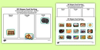 Food 2D Shape Sorting Activity Polish/English - Food 2D Shape Sorting Activity - shapes, maths, ordering, order, shpes, 2Dshape, shape sorter, shaoe